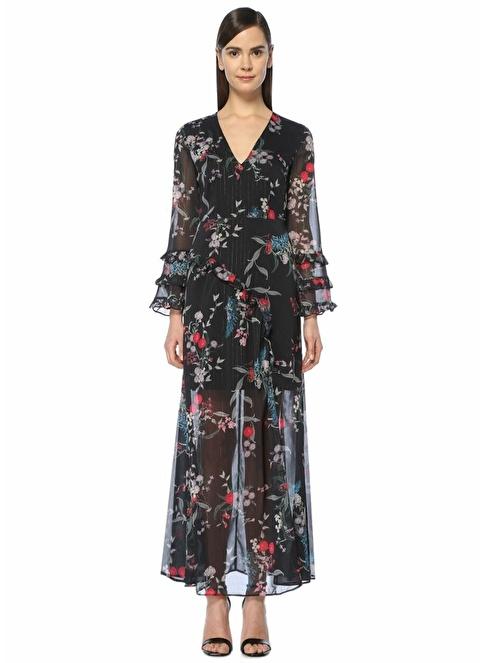 Keepsake V Yaka Çiçekli Uzun Şifon Elbise Siyah
